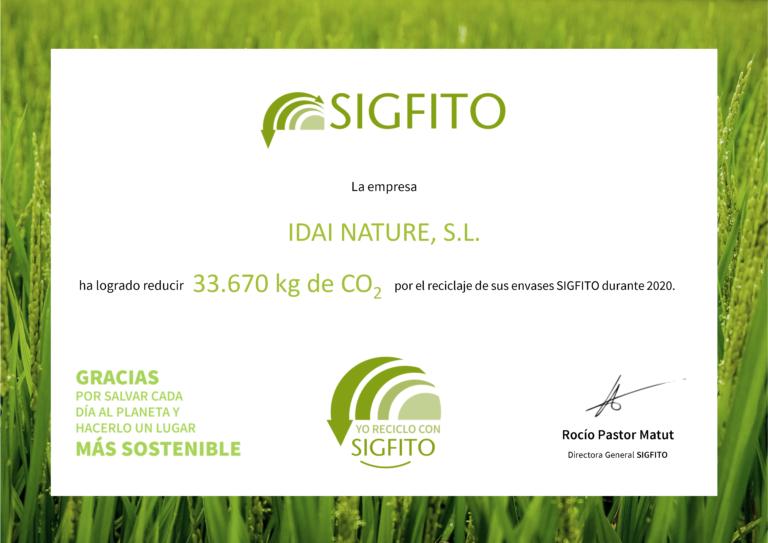 Certificado emisiones SIGFITO